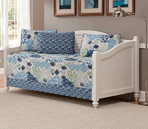 Mk Collection 5pc DayBed Coverlet Floral Modern Blue Beige New #15-11 - Linen Set Daybed