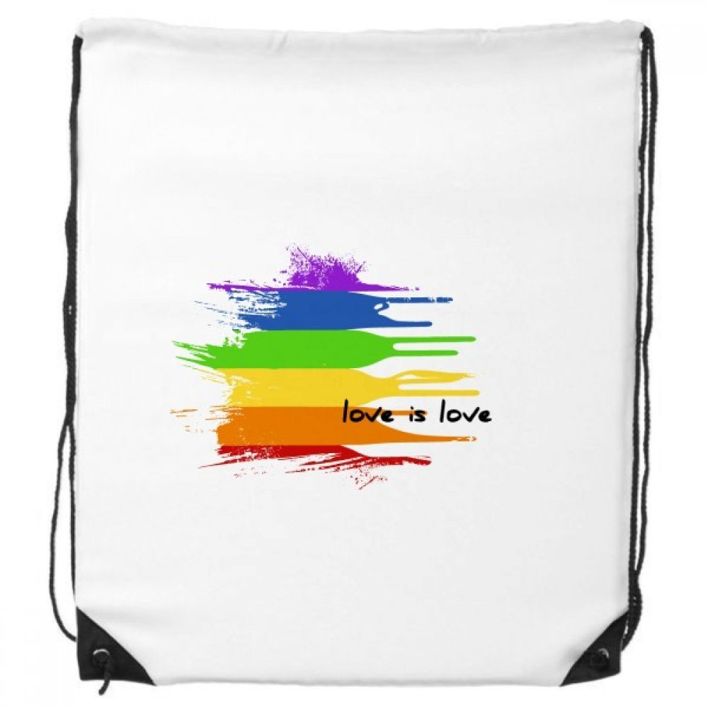 Love is Love LGBT Rainbow Color Ink Shape Drawstring Backpack Shopping Gift Sports Bags