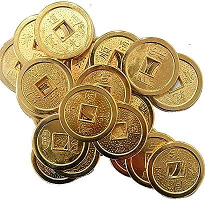 20 piezas fortuna monedas chinas Feng Shui de oro + bolsa de ...