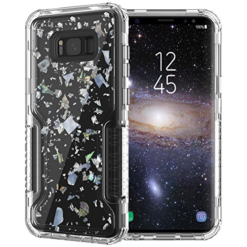 Dexnor Samsung Galaxy S8 Plus Case Luxury Glitter Bling Confetti Design Hard PC Frame + Clear Soft TPU Cover Front and Back 3-Layer Protective Bumper for Girls/Women - Transparent