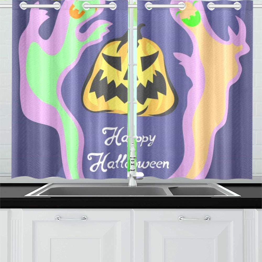 N A Cool Halloween Creep Fun Ghost Kitchen Curtains Window Curtain Tiers For Cafe Bath Laundry Living Room Bedroom 26x39inch 2pieces Amazon Co Uk Kitchen Home