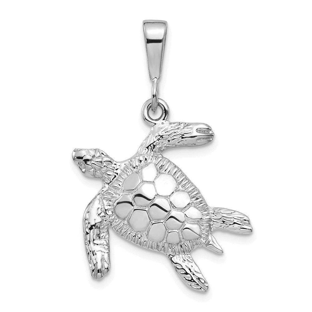 14k White Gold Open-Backed Sea Turtle Pendant 32mm Length