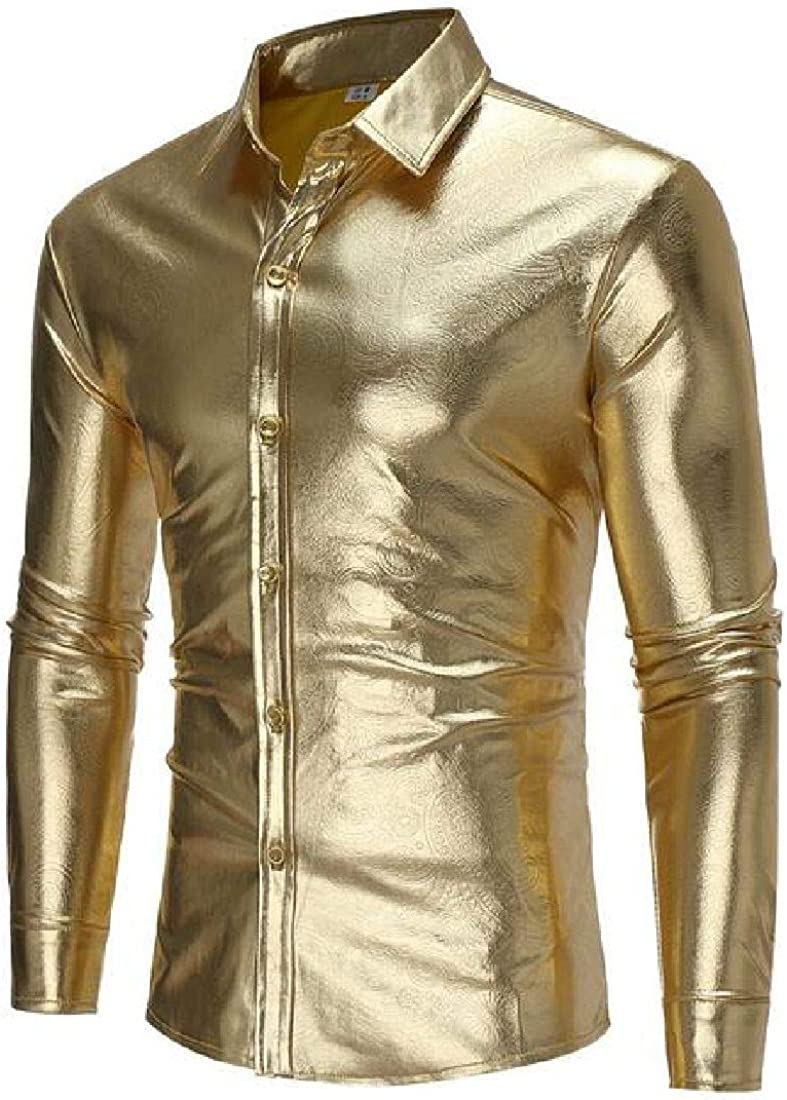 KLJR Men Faux Leather Long Sleeve Button Up Regular Fit Hipster Shirts