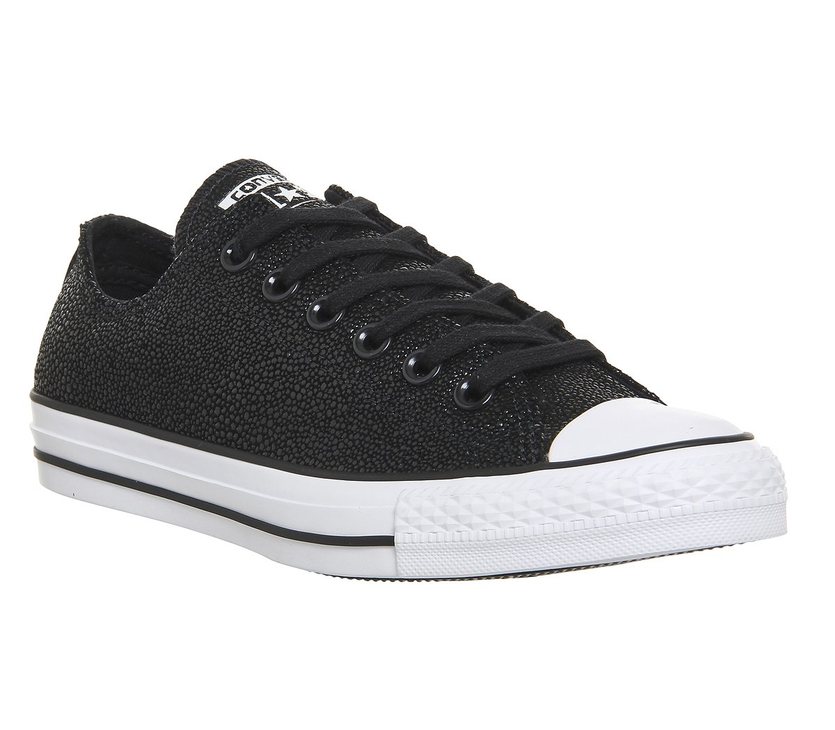 Converse Womens All Star Ox Leather Embossed Skate Shoes B0193UNRE8 6 B(M) US|Stingray Metallic Black