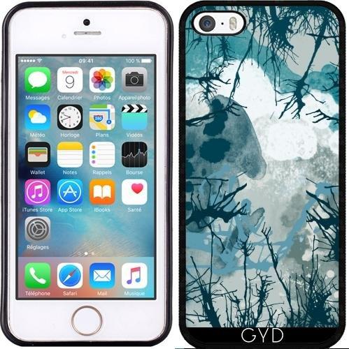 Coque Silicone pour Iphone 5/5S - Arbre Abstrait Bleu by les caprices de filles