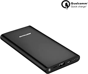 10000mAh Quick Charge QC 3.0 Portable Charger Fast Charging Slim Compact Power Bank High Capacity Battery Pack Compatible with iPhone iPad Samsung Galaxy Cell Phone Android Smartphone and More (Black)