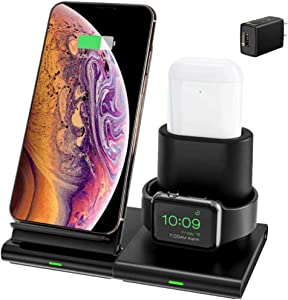 Hoidokly Wireless Charger Qi Fast 3 in 1 Charging Station Dock for Apple Watch Series 6/SE/5/4/3/2,AirPods 2,7.5W Charging Stand for iPhone 11 Pro Max/SE 2020/XS Max/XR/XS/X/8Plus(Included Adapter)
