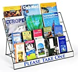 Set of 2 - Literature Organizer for Countertop Use, 4-Tier Design Holds up to (3) 8.5x11 Magazines Per Level, Wire Construction - Black