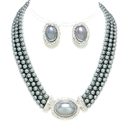 bca4df9c8 Amazon.com: Christina Collection Uniklook Women's Multi Strands Gray Pearl  Crystal Necklace Clip on Earrings Set Costume Jewelry: Jewelry