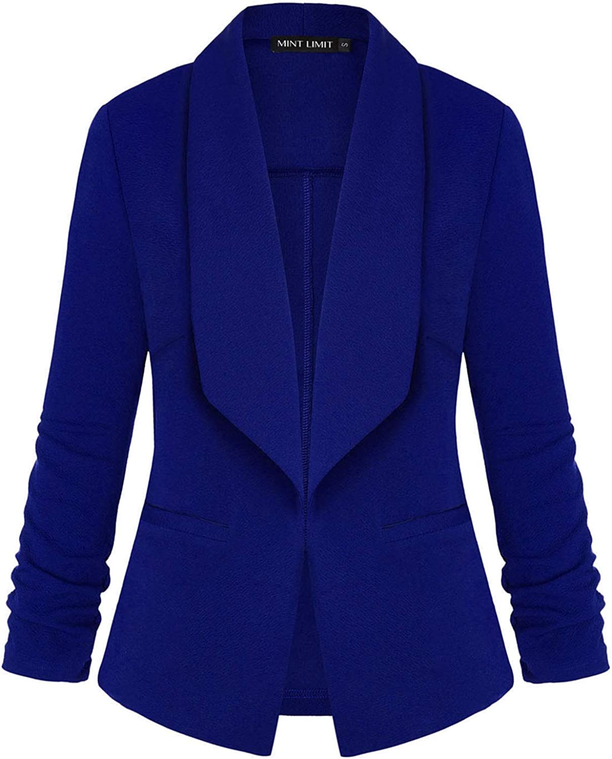 Women's Blazers Ruched 3/4 Sleeve Open Front Lightweight Work Office Blazer Jacket Pockets