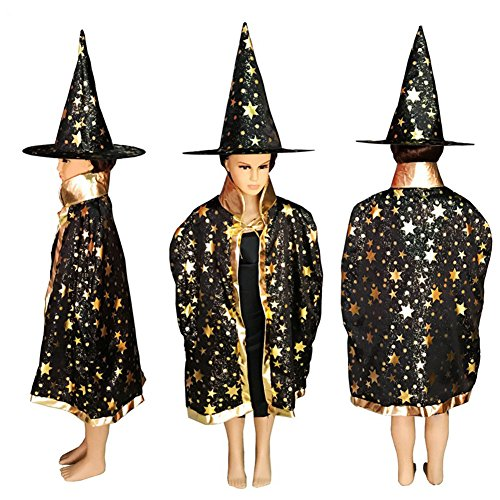 Eliffete Halloween Christmas Party Witch Black Collor Cloak Cosplay Dress Capes