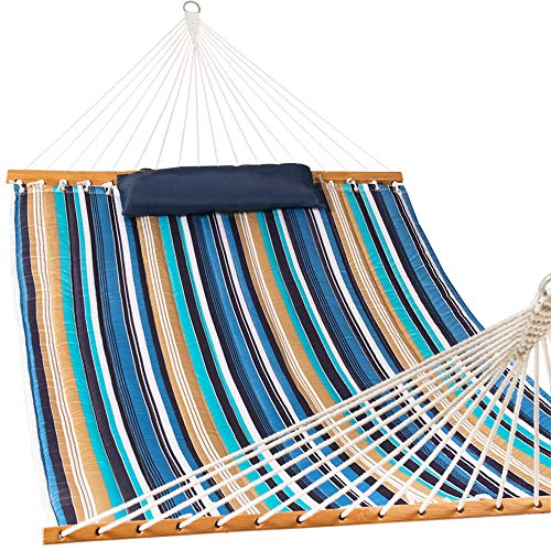 Lazy Daze Hammocks Quilted Fabric Double Size Spreader Bar Heavy Duty Stylish Hammock Swing with Pillow for Two Person, Blue & Brown Stripe