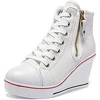Mujer Cuñas Zapatos 35-43 EU De Lona High-Top Zapatos Casuales Talla Grande Zapatillas de Cuña para Mujer Zapatillas de…