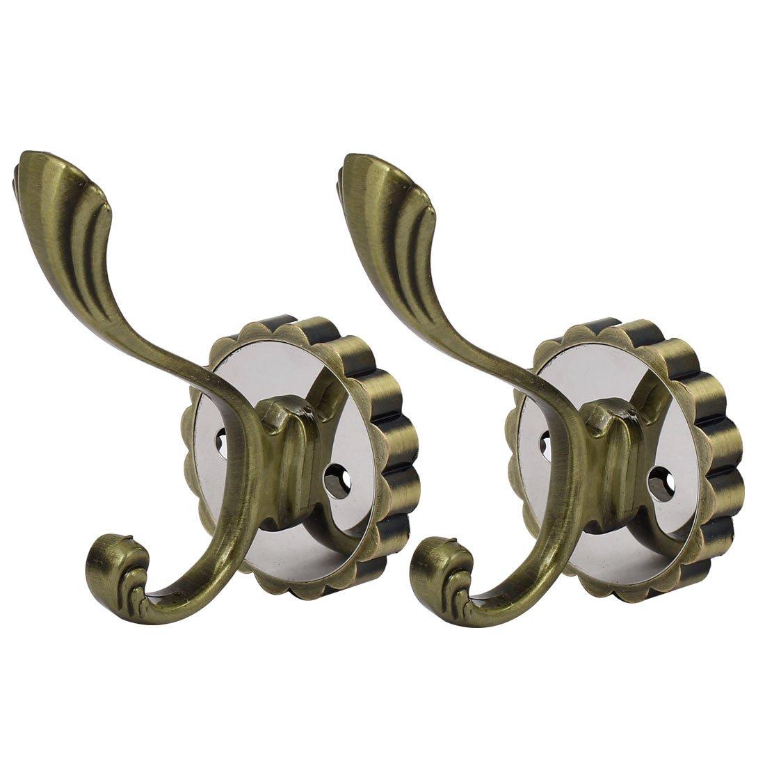 uxcell Coat Handbag Metal Flower Shape Base Wall Hanger Double Hook Bronze Tone 2pcs
