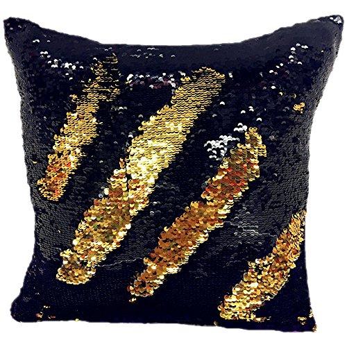 Magic Reversible Mermaid Sequin Cushion Cover Glitter Throw Pillow Case Decor (40×40 cm, Black+Gold)