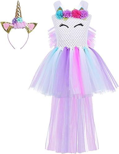 dPois Vestido de Unicornio Niña Tutu Flor Princesa Navidad Disfraz ...