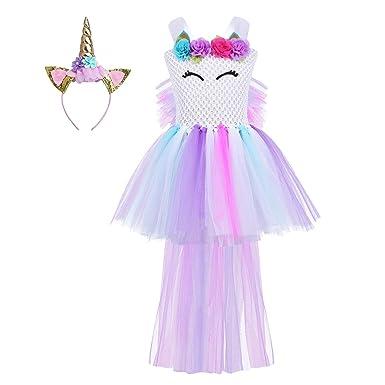 Dpois Vestido De Unicornio Nina Tutu Flor Princesa Navidad Disfraz