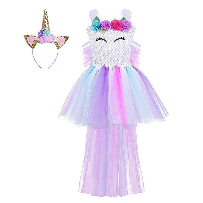 6b0952a01 dPois Vestido de Unicornio Niña Tutu Flor Princesa Navidad Disfraz ...