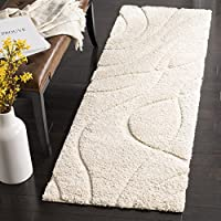 Safavieh Florida Shag Collection SG471-1111 Creme and Creme Runner (2'3' x 7')