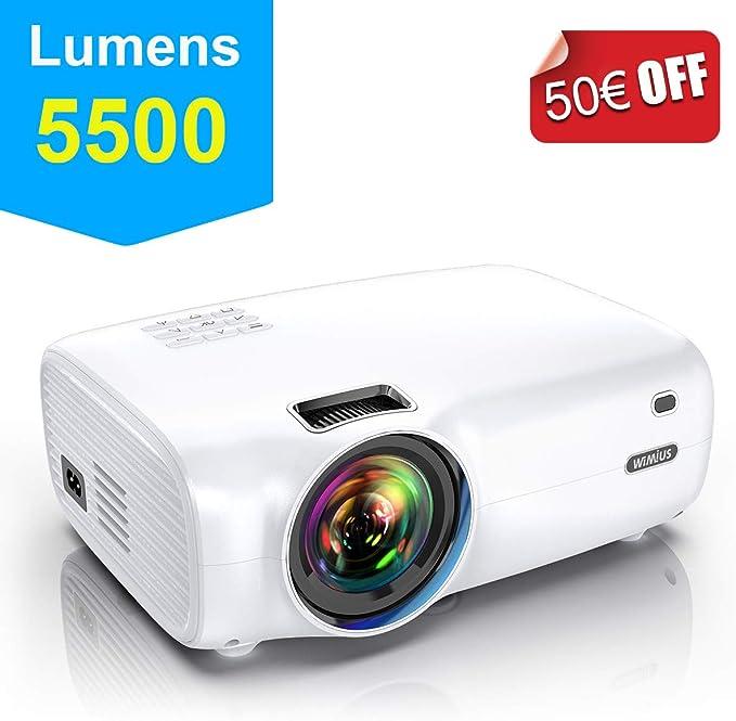 Proyector, WiMiUS 5500 Lúmenes Proyector Portátil Full HD Soporta 1080P Proyector Cine en casa 720P Nativo con Audio Hi-Fi Pantalla 200