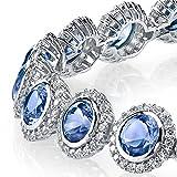 925 Sterling Silver Round Bezel Link Cubic Zirconia Tennis Bracelet CZ Tanzanite