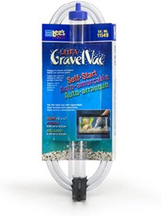 Lee's 12-Inch Slim Jr. Ultra Gravel Vacuum Cleaner, Self-Start with Hose Clip