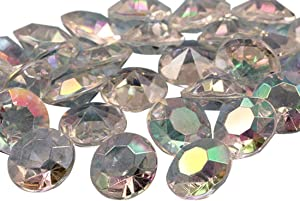 Allstarco 50PCS 20mm 25 Carats Acrylic Diamond Confetti AB Coating for Table Scatter Wedding Decorations Vase Fillers