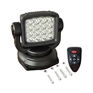 lightronic Remote Control Search-Light 10-30V 360º 80W CREE LED Rotating Remote Control Work Light Spot for Hummer Jeep Off-Road Vehicles Trucks Boat Home Security Protection Emergency Lighting