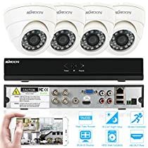 KKmoon CCTV Surveillance DVR Security System 4CH Dome CCTV Dvr System 1080N Onvif DVRr + 4pcs 800TVL Dome Camera + 4pcs 60ft Cable support IR-CUT Filter Night Vision APP PC View Motion Detection
