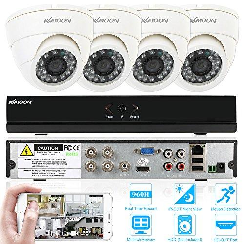 KKmoon CCTV Surveillance DVR Security System 4CH Dome CCTV Dvr System 1080N Onvif DVRr + 4pcs 800TVL Dome Camera + 4pcs 60ft Cable support IR-CUT Filter Night Vision APP PC View Motion Detection