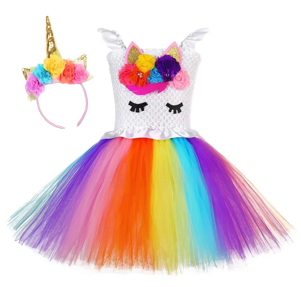 Tutu Dreams Rainbow Unicorn Dress Girls Birthday Tutu Outfit Christmas Halloween (Flower, Medium) by Tutu Dreams