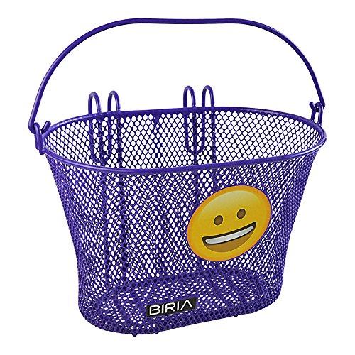 Biria Basket with Hooks Purple Smile Emoji Front, Removable, Wire mesh Small, Kids Bicycle Basket, Purple - Bike Purple Basket
