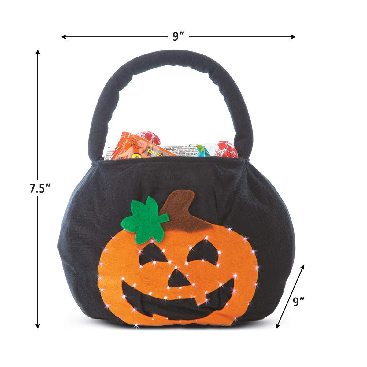 Enjoyable Lillian Vernon Blinking Pumpkin Personalized Halloween Treat Bag Light Up Trick Or Treat Tote Candy Basket For Kids 100 Polyester 9 X 9 X Caraccident5 Cool Chair Designs And Ideas Caraccident5Info