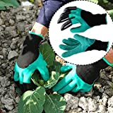 Cushion Living Gardening Gloves- Best Gift for Gardeners- Manual Weeder Tool Digging Planting Seeding Potting Rose Pruning- Right Hand Claw Finger Tips- Better Gardening Equipment- 1 Pair