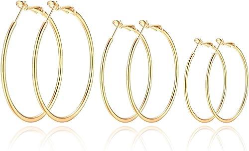 14K Gold Plated Rose Gold Plated Silver Stainless Steel Hoop Earrings for Women Girls 12 Pairs Big Hoop Earrings Set