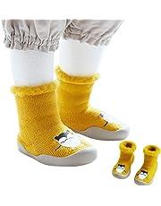 Xiang Ru Newborn Toddler Baby Anti-slip Slipper Floor Socks - Cartoon Middle Tube - Velvet Thick