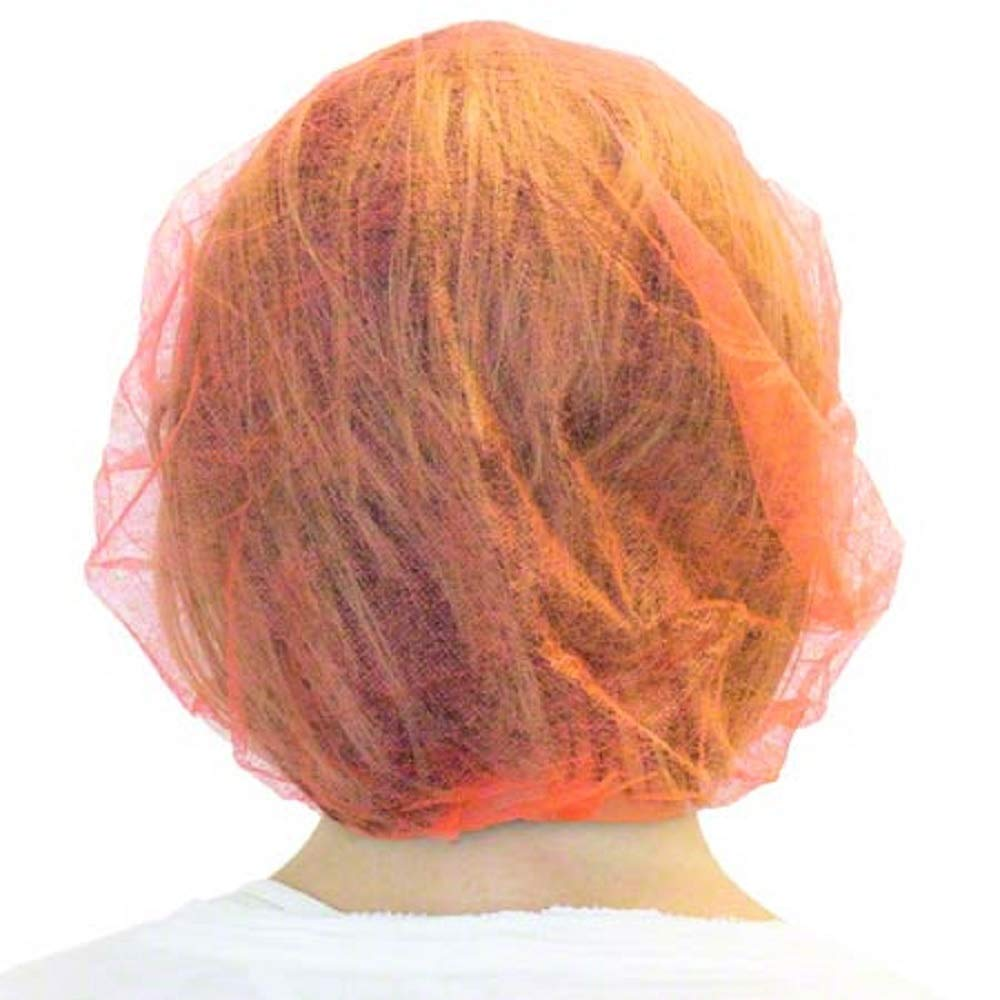 1000 Pack Orange Bouffant Caps 24''. Non Woven Hair Caps with elastic stretch band. Disposable Polypropylene Hats. Unisex Protective Hair Covers for food service, medical use. Breathable, Lightweight.