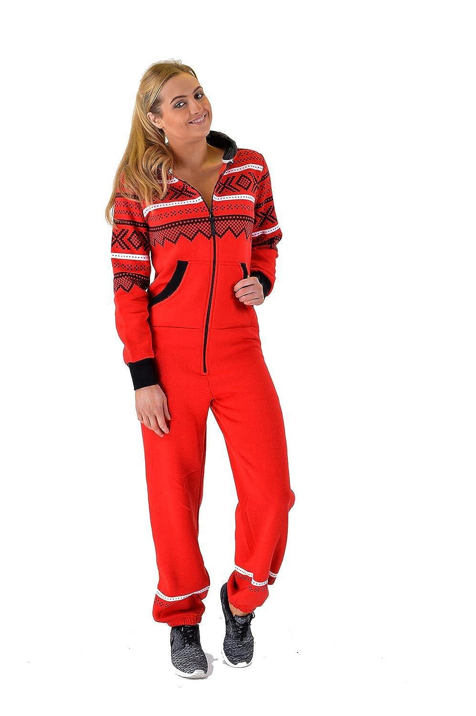 Womens Ladies Aztec Printed Thick Warm Fleece Zipper All In One Piece Cuffed Suit Mymixtrendz