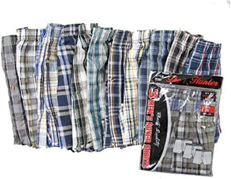 12 Pack Mens Designer Check Cotton Button Fly Boxer Shorts Underwear Small to Bi