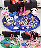 Ramsay Toy Storage Bags,LEGO Storage Bag, Toys Organizer, Colorful Baby Play Mat, Playing Mats, Portable Toys Blanket Rug, (pink)