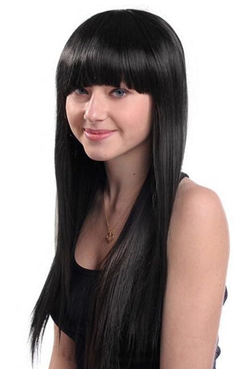 Elegante peluca larga S-noilite® de cabeza completa con flequillo plano, cabello lacio