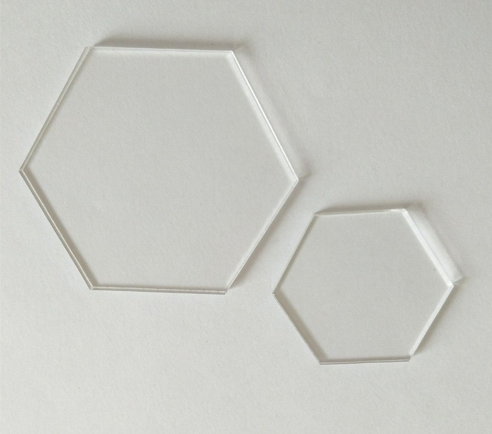 Clear Acrylic Laser Cut Hexagon Sheet, Hexagon Place Cards for Table Numbers, Guest Name, Food Signs and Special Event Decoration And DIY Accessory (2.0'') by RUIXUAN