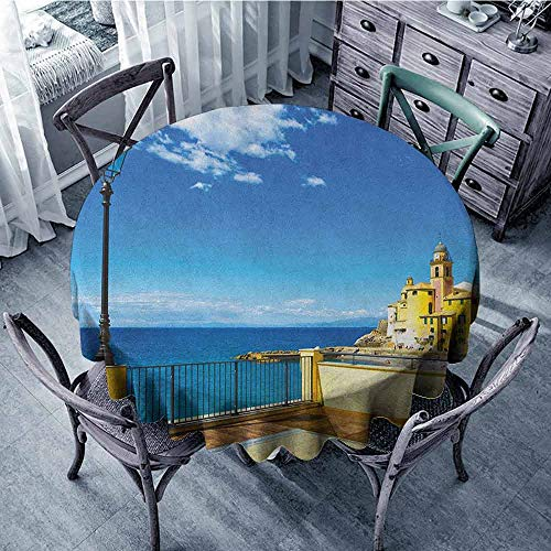 Beach Round Tablecloth Printed Tablecloth Italian,Camogli Building Sea Lamp and Balcony Tourist Spot in Ligury Italy Print, Blue White and Yellow Diameter 70