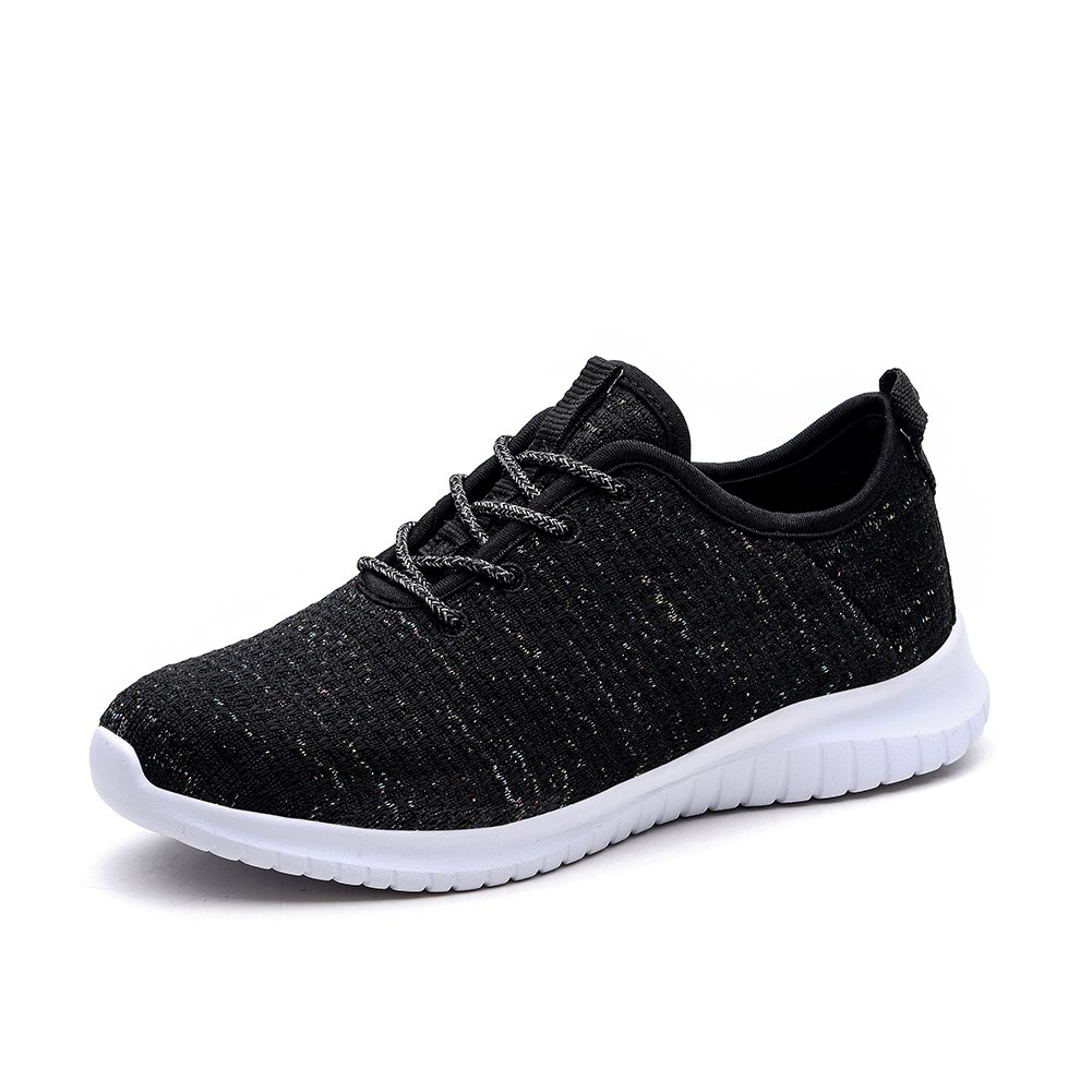 KONHILL Women's Tennis Walking Shoes - Lightweight Casual Athletic Sport Running Sneakers B07F1V8TSN 11 M US|2111 Black