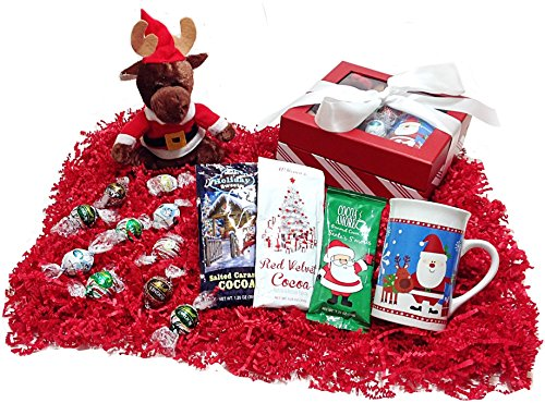 Christmas Holiday Ribboned Gift Box - Lindt Gourmet Chocolate Truffles, Specialty Hot Chocolates, Mug & Plush Reindeer Stuffed Animal (Gourmet Cocoa Mug)
