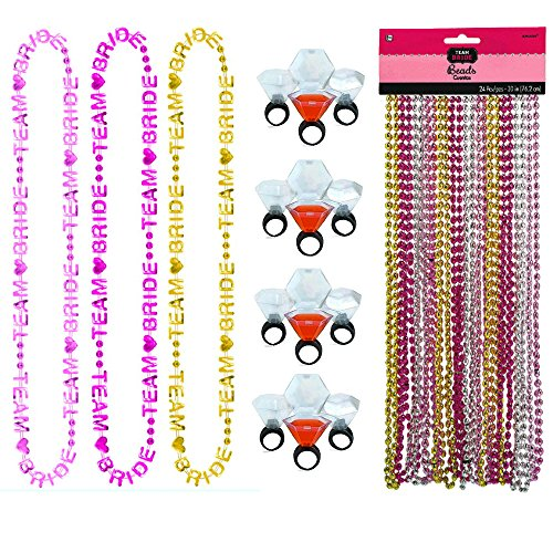 Team Word Bride Necklace (6 count) with Team Bride Bead Necklaces (24 count) and 1 Dozen Shot Glass Rings Bachelorette Party Pack (3 items)
