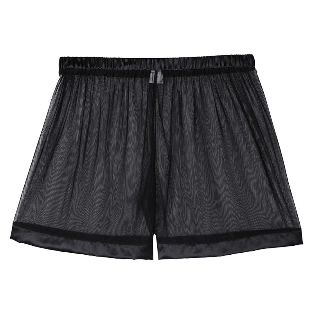 JDSHSO Mens Lingerie See Through Mesh Beach Panties Loose Lounge Boxer Shorts Breathable Hollow Out Boardshorts Swim Trunks