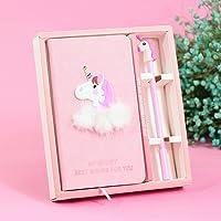 ABYED Carnet de Notes Mignon avec Forme de Licorne Cahier Assorti du Stylo Gel Cadeau d'Anniversaire pour Filles