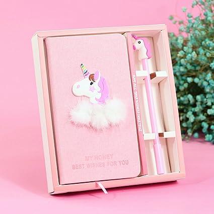 ABYED Caja de regalo de agenda Kawaii de Unicornio más un bolígrafo de tinta Gel, Regalo de cumpleaños para chicas