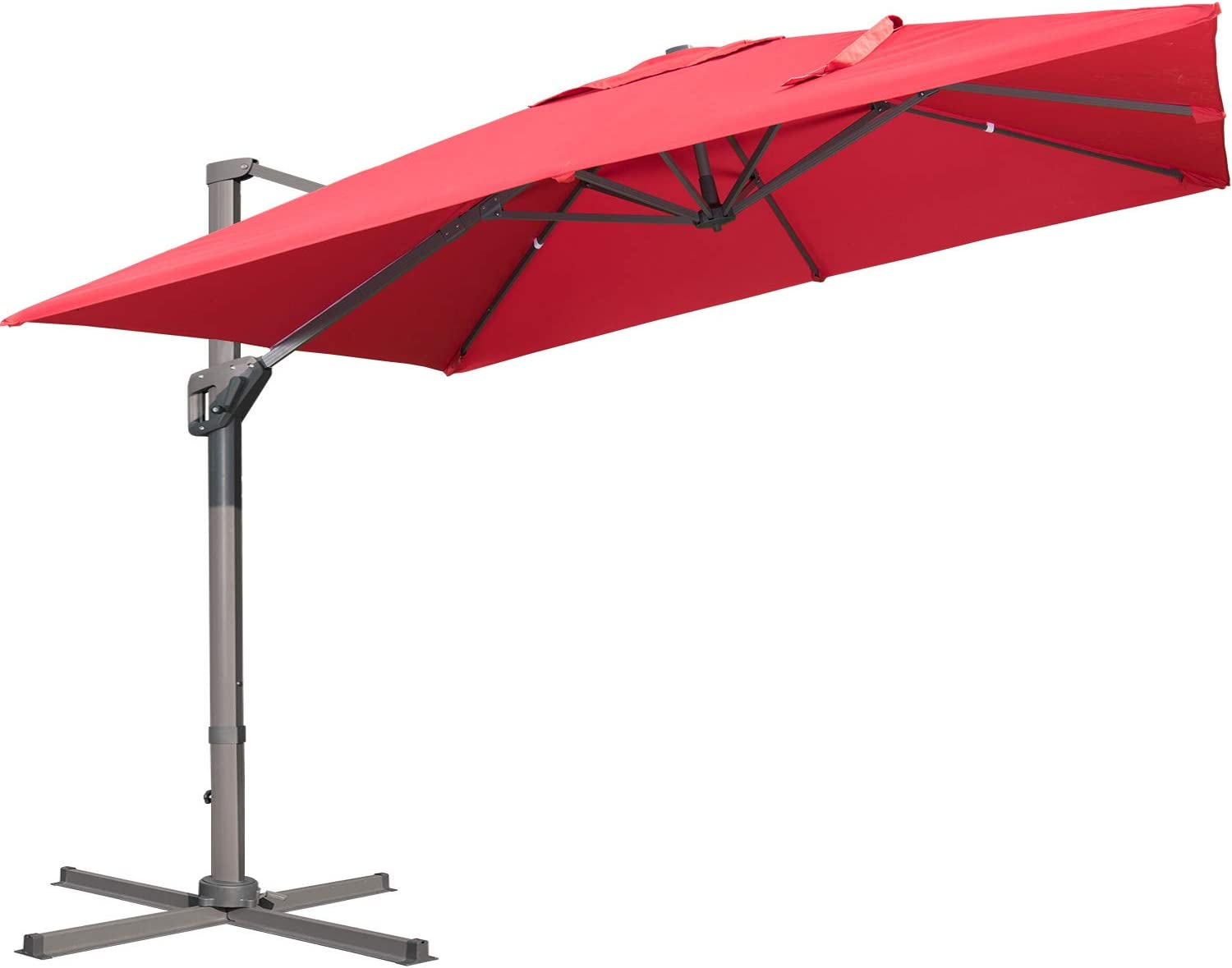 LKINBO 10x10ft Patio Offset Hanging Umbrella Square Deluxe Outdoor Cantilever Umbrella Large sun umbrellas 360 Degree Rotation with Lifting System and Cross Base for Garden, Backyard, Patio,Pool (Red)